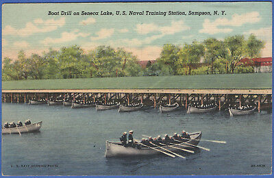 S427 - PPC WWII US Navy1944 Sampson, NY Training Station, Boat Drill on Lake