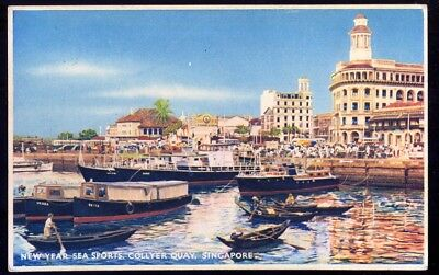 New Year Sea Sports, Collyer Quay, Singapore. Vintage Postcard. Free UK Post