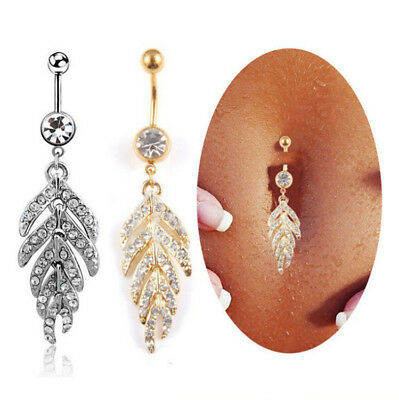 Fashion Leaf Dangle Belly Button Rings Stainless Steel Piercings Body Jewelry