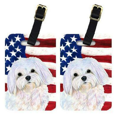Carolines Treasures SS4044BT Pair Of USA American Flag With Maltese Luggage Tags