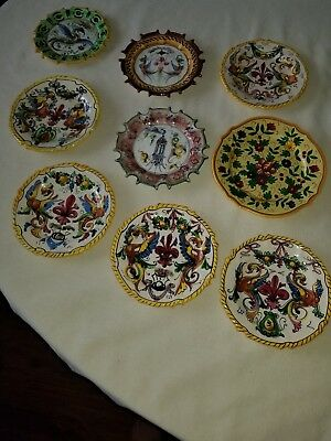 """Group Of Antique Italian 6"""" /8  Hand Painted  Edged Wall Plates"""