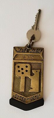 Vtg Collectible Melia Madrid Large Embossed Brass Hotel Keychain & Obsolete Key