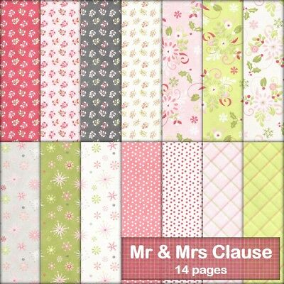 MR & MRS CLAUSE CHRISTMAS SCRAPBOOK PAPER - 14 x A4 pages + 2 FREE CLIPART PAGES