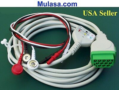 GE, Marquette, Solar, ECG Trunk Cable 11 Pin with 3 lead wire included