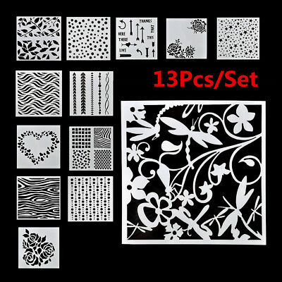 13Pcs/Set Embossing Template Scrapbooking Walls Painting Layering Stencils JP