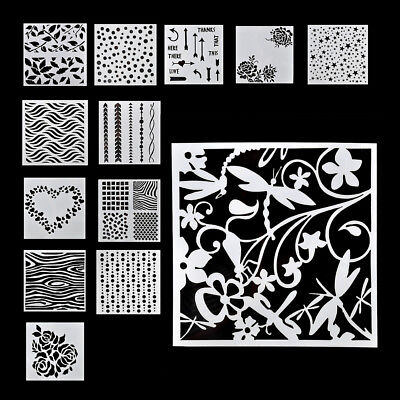 13Pcs/set Craft Embossing Template Wall Painting Layering Stencils Scrap Booking