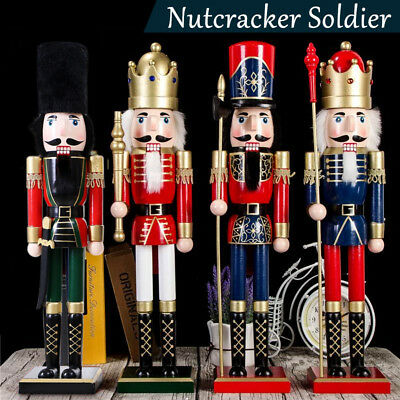 60CM Wooden Nutcracker Soldier Handcraft Walnut Puppet Toy Christmas Decor Gift