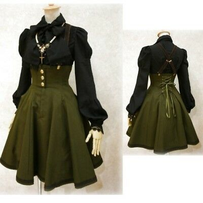 Women Sexy Victorian Gothic Suspender Skirt Back Lace Up Dress Halloween Cosplay