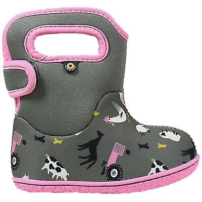 Girls Baby Bogs Farm Grey/Pink Insulated Washable Warm Wellies Boots 722981