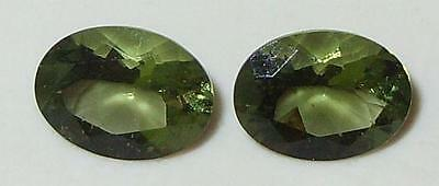 1.79ct Pair Faceted TOP QUALITY Natural Czechoslovakia Moldavite Oval Cut 8x6mm