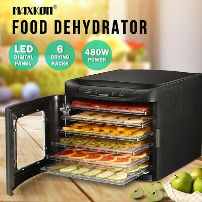 Maxkon 6 Trays Food Dehydrator Fruit Vegetable Meat Beef Jerky Dryer Marker New