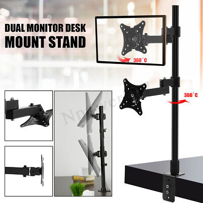 "Dual HD LED Desk Mount Monitor Stand Bracket 2 Arm Holds 14~24"" LCD Screen TV"