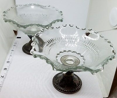 Vintage Estate Pair of Sterling Silver Duchin Glass Candy Dishes