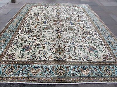 Old Hand Made Traditional Persian Oriental Wool Green Large Carpet 374x304cm