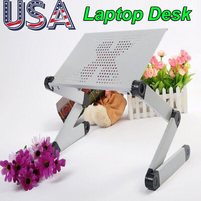 Silver 360°Adjustable Folding Laptop Table Lap Desk Bed Computer Tray Stand