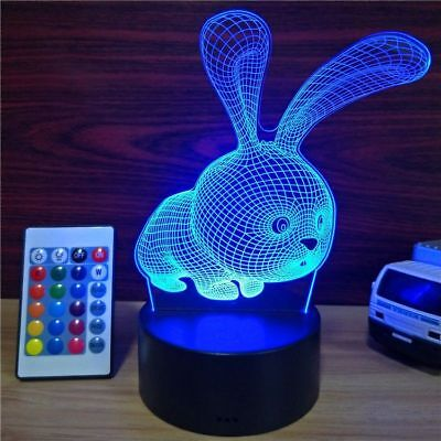 Rabbit 3D lamp 7 Colors Changing acrylic Night light Home Decor Gift for Kids