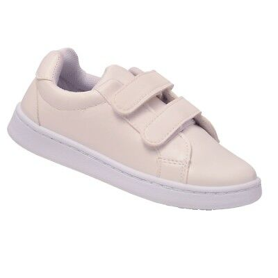 1a820014cb46 Anne Marie Little Girls White Double Hook-And-Loop Strap Sneakers 10 Toddler