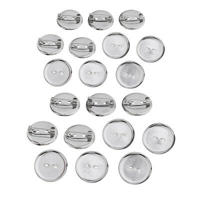23MM Brooch Base Craft Making Pin Back Parts Badge Button Supplies 20 Pieces