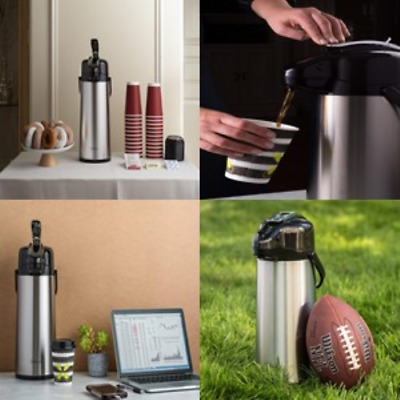 Thermal Carafes 2.2 Liter Airpot Coffee Dispenser With Pump, Stainless Steel NEW