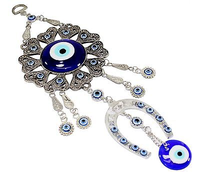 Turkish Blue Evil Eye Horseshoe Amulet Wall Hanging Decor Blessing Protection
