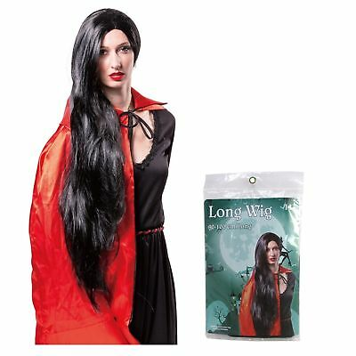 """40"""" Black Extra Long Witch Halloween Wig Fancy Costume Party Vampire Morticia"""