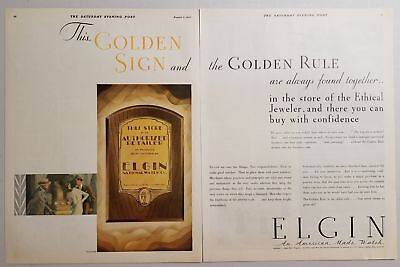 1930 Print Ad Elgin American Made Watch Watches The Golden Rule