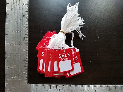 100 Red White Sale Price Tags w/ String Merchandise Hang Coupon Small Strung