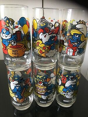 vintage smurf glasses 16 oz set of 6 never used  1983 excellent color