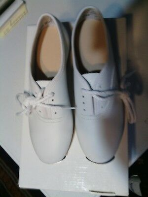 CLOGGING SHOES, KIDS STOMPER, 1 med. white WITH BUCK TAPS, NIB.