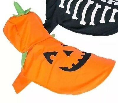 Halloween Small Pet Dog Pet Costume Fancy Dress Party Pumpkin Or Skeleton Outfit