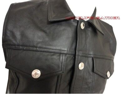 Men's Leather Motorcycle Vest Leather Biker Jeans Style S To 6XL Custom L-118