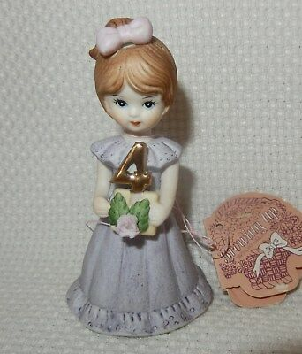 1982 Growing Up Birthday Girls Enesco 4 Years Old Orig Tag No Box