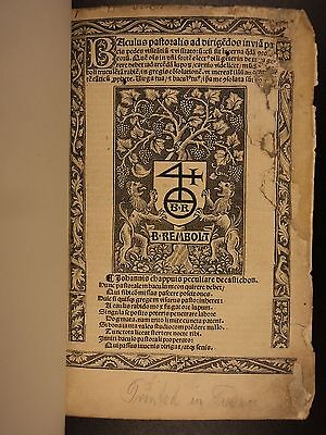 1508 Baculus Pastoralis Catholic Church Canon Law Bishops Post Incunable RARE