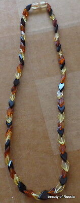 Marvelous BALTIC multicolor AMBER necklace beads WOMEN 17.5 inches #3