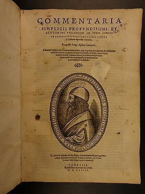 1564 Simplicus de Cilicia On Aristotle Greek Pagan Philosophy Metaphysics Folio