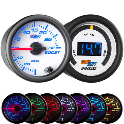 GlowShift 52mm White 7 Color 30PSI Boost/Vacuum + Wideband Air/Fuel Gauge Set