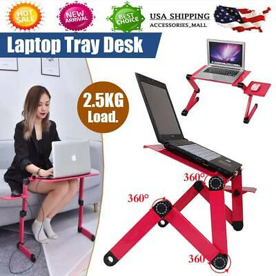 Red 360° Adjustable Folding Laptop Table Lap Desk Bed Computer Tray Stand