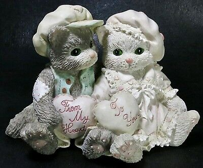 1994 Enesco Calico Kittens Figurine Paws-itively In Love Cat Couple w Hearts