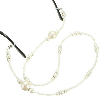 Fashion White Pearl Beaded Sunglass Eyeglasses Reading Glasses Chain Cord Holder