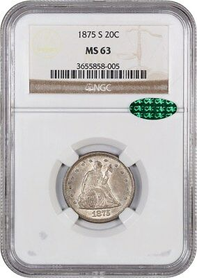 1875-S 20c NGC/CAC MS63 - Popular Type Coin - 20-Cent Piece - Popular Type Coin