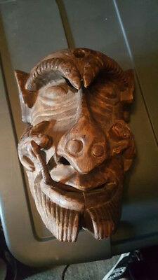 Very Old Very Rare Tribal Wood Tribal Mask & Snake You Wont Find Another