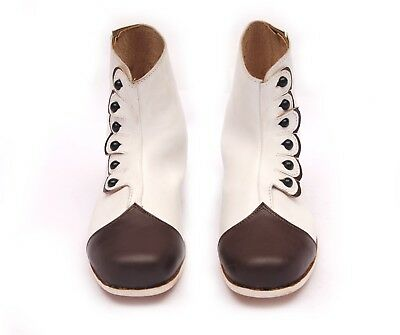 Women's Victorian Button-up Leather Boots Ladies Civil War History Shoes