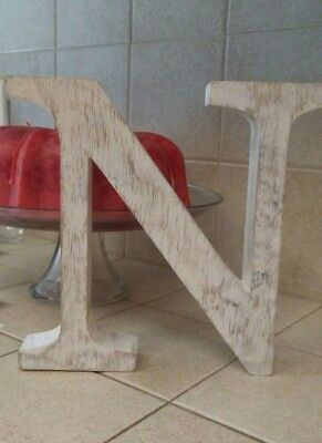 "Wooden Letter ""N"" NWT! 9""× 9 1/2"" White -by Mudpie. Made in India"