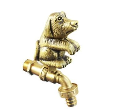 Dog Puppy Brass Garden Tap Faucet Vintage Water Home Decor Spigot Living Outdoor