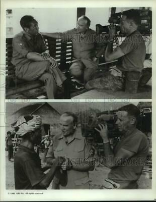 1992 Press Photo Phil Jones being filmed with unidentified person - sap13427