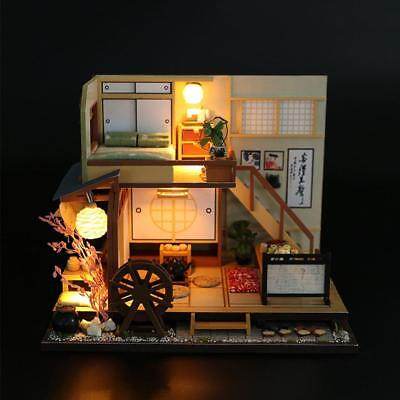 DIY Toy Doll House Miniature Kit Holiday Japanese Tea Style Cabin With Dust Cove