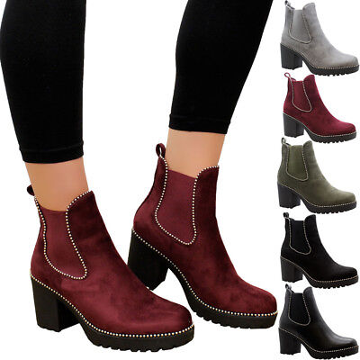 9d93a034044 Ladies Women Block Chunky Mid Heel Studded Chelsea Ankle Boots Office Shoes  Size