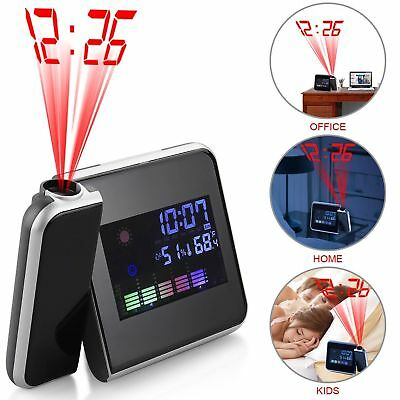 LED Projection Clock Time 3.7″ LCD Display Thermometer Whether Alarm Calendar