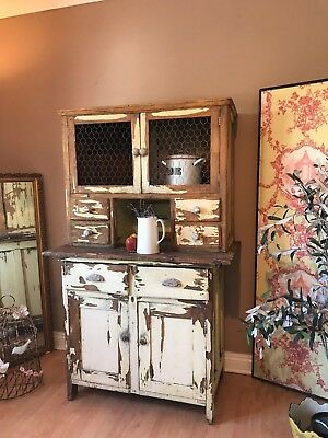 Rustic Vintage Dresser Farmhouse Country Kitchen Cupboard With Drawers Painted