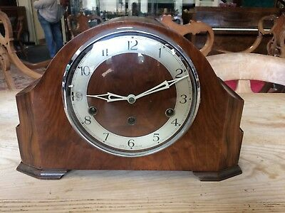 Vintage Westminster Chime Mantle Clock & Key Good Working Order
